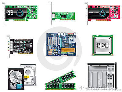 Vector white computer icon set. Part 4