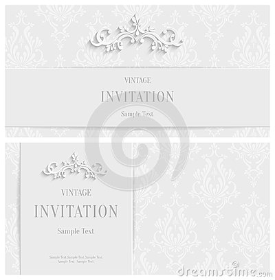 vector white floral d background template for christmas and, invitation samples
