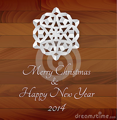 Free Vector White Paper Snowflake On A Wooden Background Stock Image - 35547921