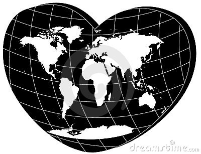 Vector white world map in 3d heart
