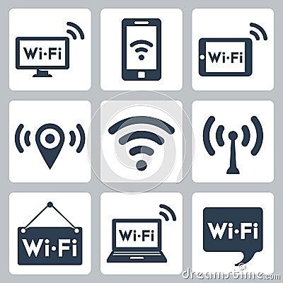 Free Vector Wifi Icons Set Stock Image - 34987781