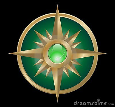 Vector wind rose (green gold)