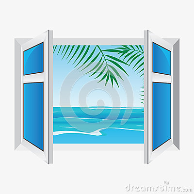 Vector window, view the sea