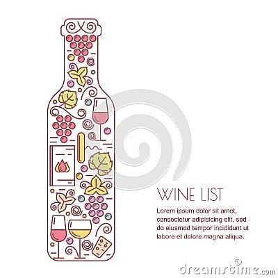 Free Vector Wine Background. Line Icons Set, Logo And Design Elements. Wine Bottle, Glass, Grape Vine And Leaf Illustration.  Royalty Free Stock Image - 65775926