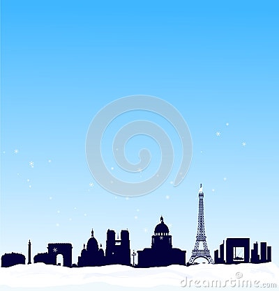 Vector winter background. Paris silhouette skyline