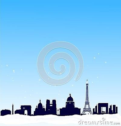 Vector winter background. Paris silhouette skyline
