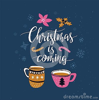 Free Vector Winter Card With Christmas Cups Of Tea And Lettering - `winter Is Coming` Isolated On The Blue Background With Snowflakes. Stock Photo - 113618750