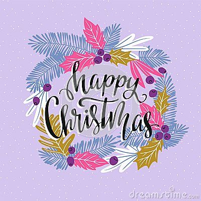 Free Vector Winter Card With Christmas Wreath And Lettering - `Happy Christmas`. Stock Images - 111942314