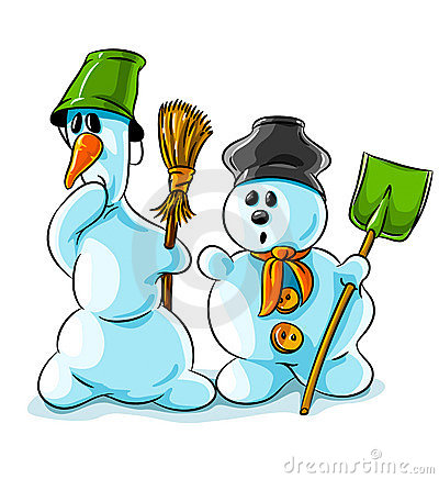 Vector winter snowmen with cleaning tools