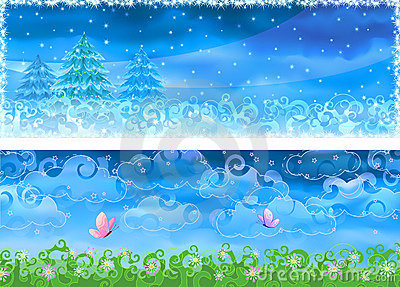 Vector winter and summer banners