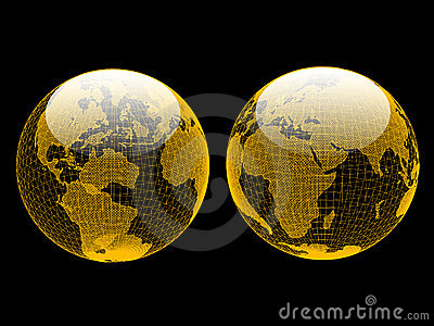 Vector Wireframe Globes