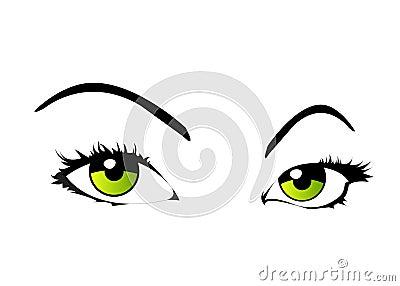 Vector woman eyes isolated
