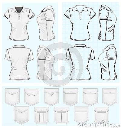 Vector Women Polo Shirt Design Templates Download Mockup Cdr
