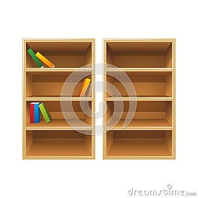 Vector wood bookshelves