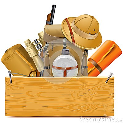 Free Vector Wooden Board With Safari Accessories Royalty Free Stock Photos - 125092388