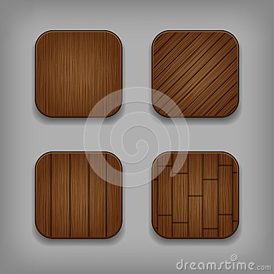 Vector wooden buttons set