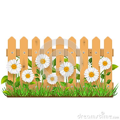 Free Vector Wooden Fence With Camomiles Stock Photo - 74342730