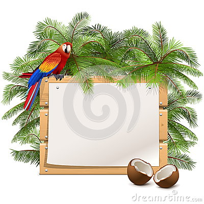 Free Vector Wooden Frame With Palm Tree Royalty Free Stock Images - 54114939