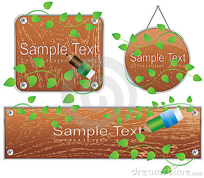 Vector wooden frames with green plants
