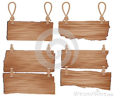 Vector Wooden sign with rope hanging
