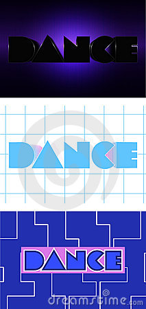 Vector word dance clipart, set