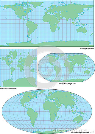 Free Vector World Contour Map In Four Projections Stock Photography - 26240382