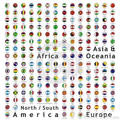 Free Vector World Flags Web Buttons Stock Photos - 10541193