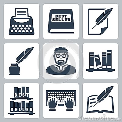 Free Vector Writer Icons Set Stock Image - 34988741