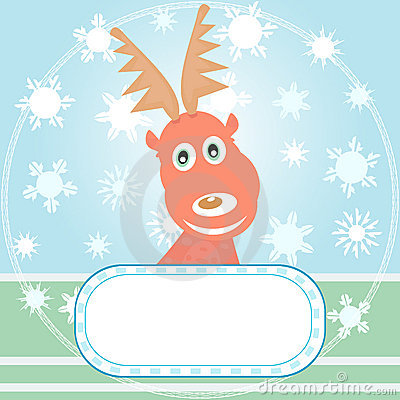 Vector Xmas card with Rudolph the Reindeer