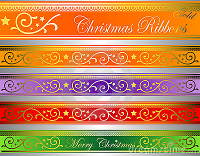 Vector xmas deco ribbons gold