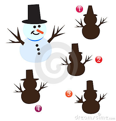 Vector ~ Xmas shape game: snowman