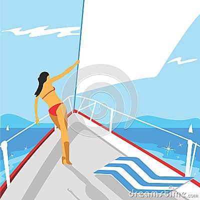vector yacht girl