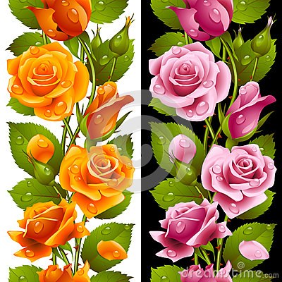 Free Vector Yellow And Pink Rose Vertical Seamless Patt Royalty Free Stock Images - 33613119