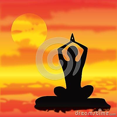 Vector Yoga meditation pose