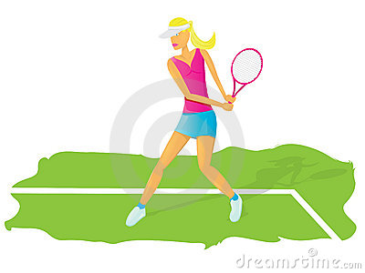 Vector Young glamour girl play tennis.