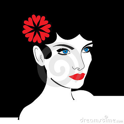 Vector young woman portrait