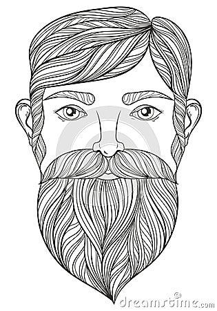 Vector Zentangle Portrait Of Man With Mustache And Beard