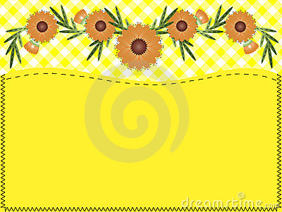 Vector Zinnia, Gingham, Quilting and Copy space