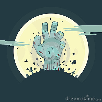 Vector zombie hand rising from the grave