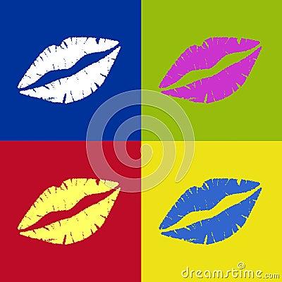 Vectored Lipstick Kiss Retro