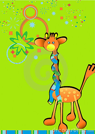 Vectorial cartoon style illustration with giraffe