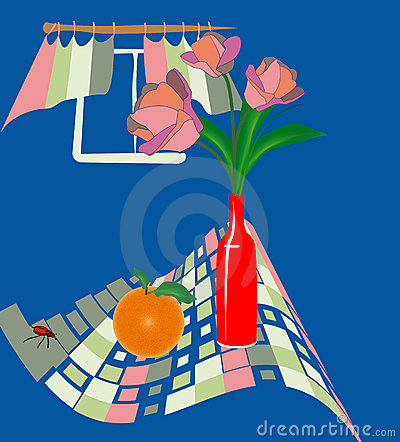 Vectorial illustration with tulips and orange