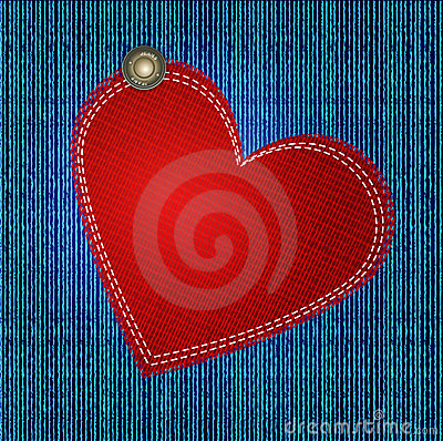 Vectors jeans background with red heart