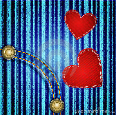 Vectors jeans background with two red heart
