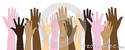 Veelkleurige opgeheven handen