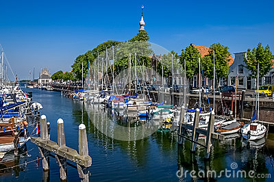 Veere harbour in the Netherlands Editorial Stock Image