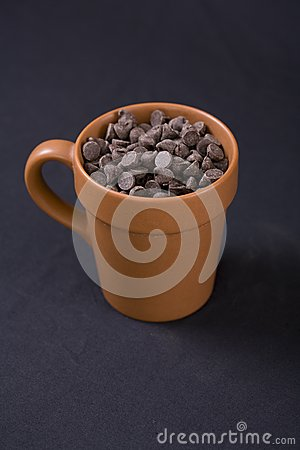 Vegan Chocolate Chips in Terracotta Cup