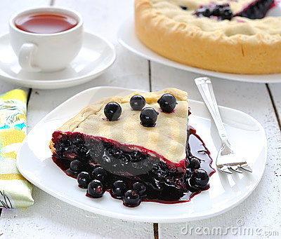 Vegan juicy pie with a black currant