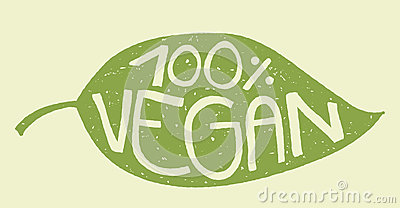 Vegan leaf stamp Vector Illustration