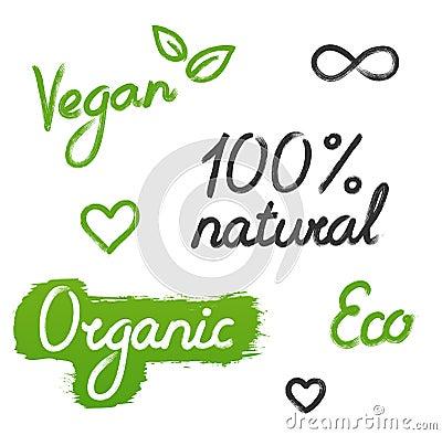 Set Of Six Decorative Vegan, Vegetarian And Organic Signs. Heart ...